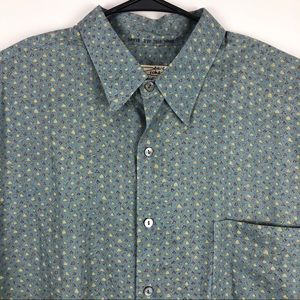 Tori Richard Hawaiian Button Shirt Blue Gray XL